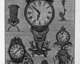 Three clocks, two chairs, a chandelier — Джованни Баттиста Пиранези