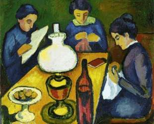 Three Women at the Table by the Lamp — Август Маке