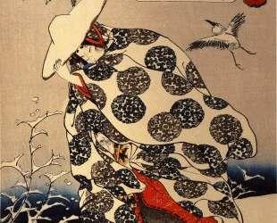 Tokiwa-Gozen with her three children in the snow — Утагава Куниёси