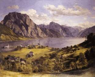 Traunsee with Orth-castle — Фердинанд Георг Вальдмюллер