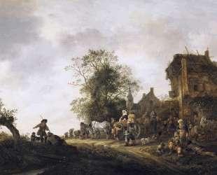 Travellers Outside an Inn — Исаак ван Остаде