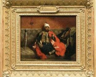 Сидящий турок, курящий на кушетке — Эжен Делакруа