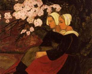 Two Breton Women under a Flowering Apple Tree — Поль Серюзье