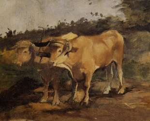 Two Bulls Wearing a Yoke — Анри де Тулуз-Лотрек