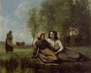 Две пастушки на лугу у воды — Камиль Коро