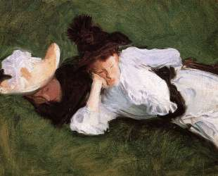 Two Girls Lying on the Grass — Джон Сингер Сарджент