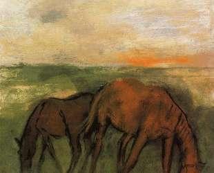 Две лошади на пастбище — Эдгар Дега