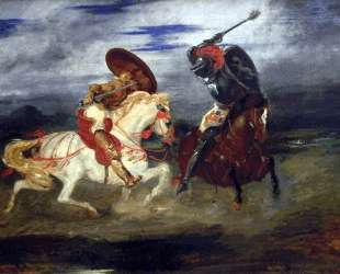 Сражение рыцарей — Эжен Делакруа