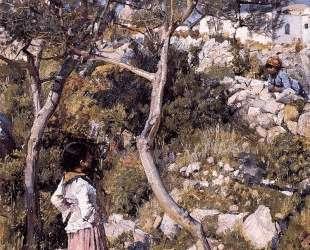 Две маленькие итальянки у деревни — Джон Уильям Уотерхаус