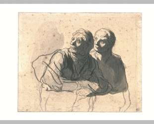 Двое мужчин вполоборота направо — Оноре Домье