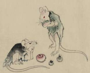 Two mice, one lying on the ground with head resting on forepaws — Кацусика Хокусай
