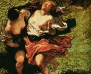 Две нимфы, преследуемые сатиром — Оноре Домье