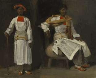 Два ракурса индийца из Калькутты — сидя и стоя — Эжен Делакруа