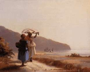 Two Woman Chatting by the Sea, St. Thomas — Камиль Писсарро
