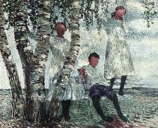 Под березами. (Неоконченный портрет детей Мещериных) — Игорь Грабарь