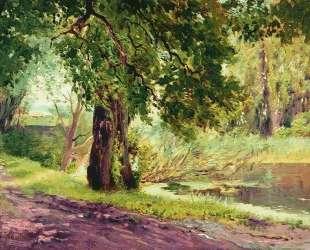 Под зелеными ветвями (Летний пейзаж) — Константин Маковский