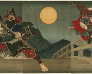 Ushiwaka and Benkei duelling on Gojo Bridge — Цукиока Ёситоси