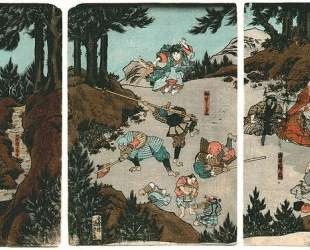 Ushiwaka-maru training with the tengu — Утагава Кунисада II