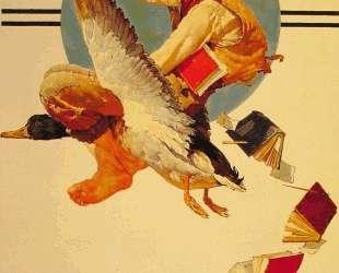 Vacation Boy riding a Goose — Норман Роквелл