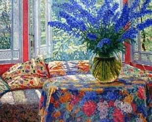 Vase of flowers in the winter garden — Николай Богданов-Бельский