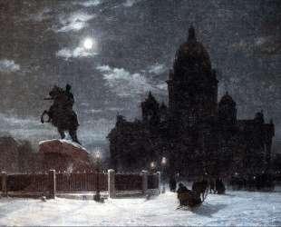 Вид памятника Петру I на Сенатской площади в Петербурге — Василий Суриков