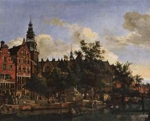 View of Oudezijds Voorburgwal with the Oude Kerk in Amsterdam — Адриан ван де Вельде