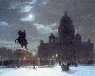 Вид Исаакиевского собора при лунном освещении — Архип Куинджи