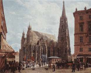 View of the Stephansdom from Stock im Eisen Platz — Рудольф фон Альт