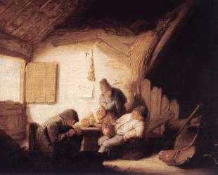 Village Tavern with Four Figures — Адриан ван Остаде
