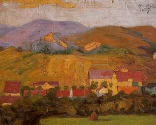 Village with Mountains — Эгон Шиле