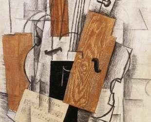 Скрипка и ноты на столе — Жорж Брак