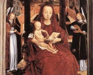 Богородица с младенцем на троне и два музицирующих ангела — Ганс Мемлинг