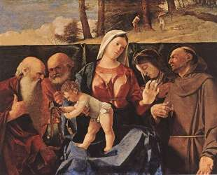 Virgin and Child with Saints Jerome, Peter, Clare and Francis — Лоренцо Лотто