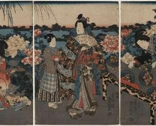 Visit to a peony garden — Утагава Кунисада II