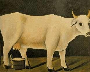 Белая корова на черном фоне — Нико Пиросмани