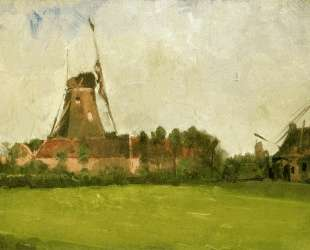 Windmill in the Dutch Countryside — Джон Генри Твахтман (Tуоктмен)