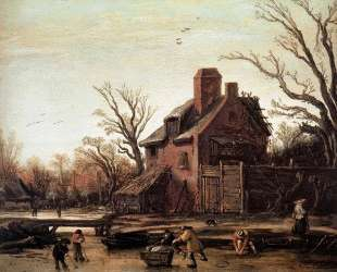 Winter landscape with farmhouse — Эсайас ван де Вельде
