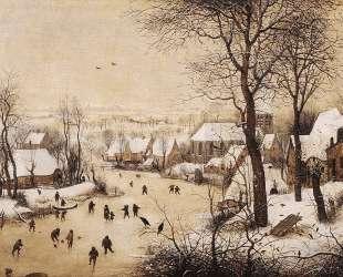 Зимний пейзаж с конькобежцами — Питер Брейгель Старший