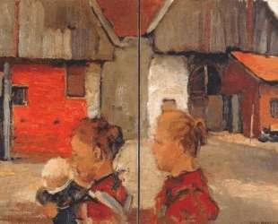 Женщина и дети перед фермой — Пит Мондриан