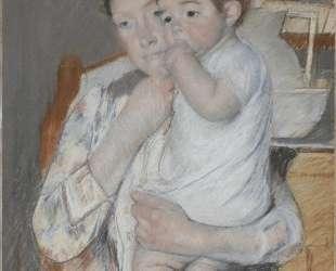 Женщина и дитя у полки с кувшином и тазом — Мэри Кассат