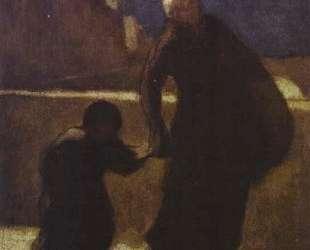 Женщина с ребенком на мосту — Оноре Домье