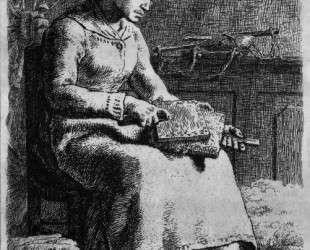 Женщина чешет шерсть — Жан-Франсуа Милле