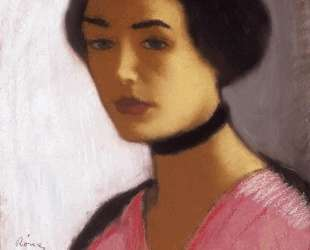 Woman in ink Dress and Black Collar — Йожеф Рипль-Ронаи