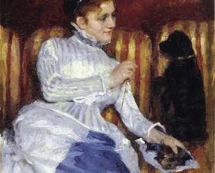 Женщина на полосатой софе с собакой — Мэри Кассат