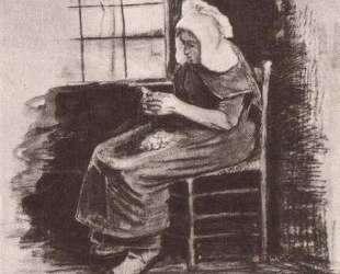 Woman Peeling Potatoes near a Window — Винсент Ван Гог
