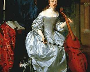 Woman Playing a Viola de Gamba — Габриель Метсю
