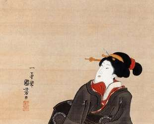 Woman seated under a cherry blossoms — Утагава Куниёси