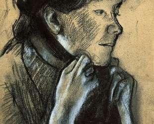 Женщина завязывает ленты шляпы — Эдгар Дега