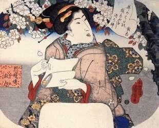 Woman under a cherry tree — Утагава Куниёси