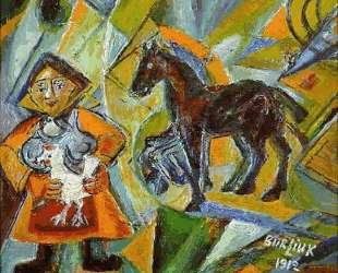 Женщина с четырьмя глазами и курицей — Давид Бурлюк